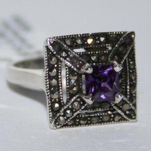 Amethyst and sterling silver ring with marcasites